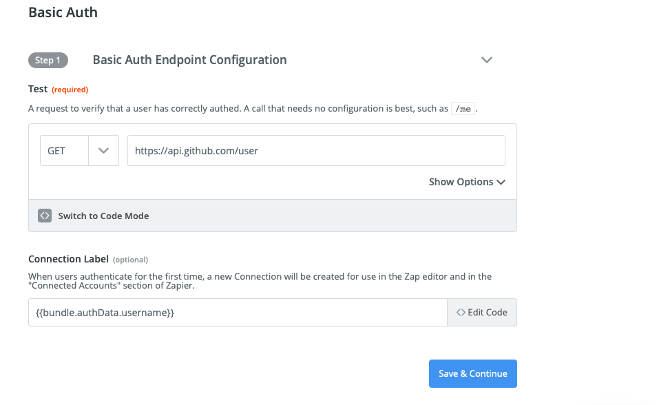 Zapier Visual Builder Basic Auth