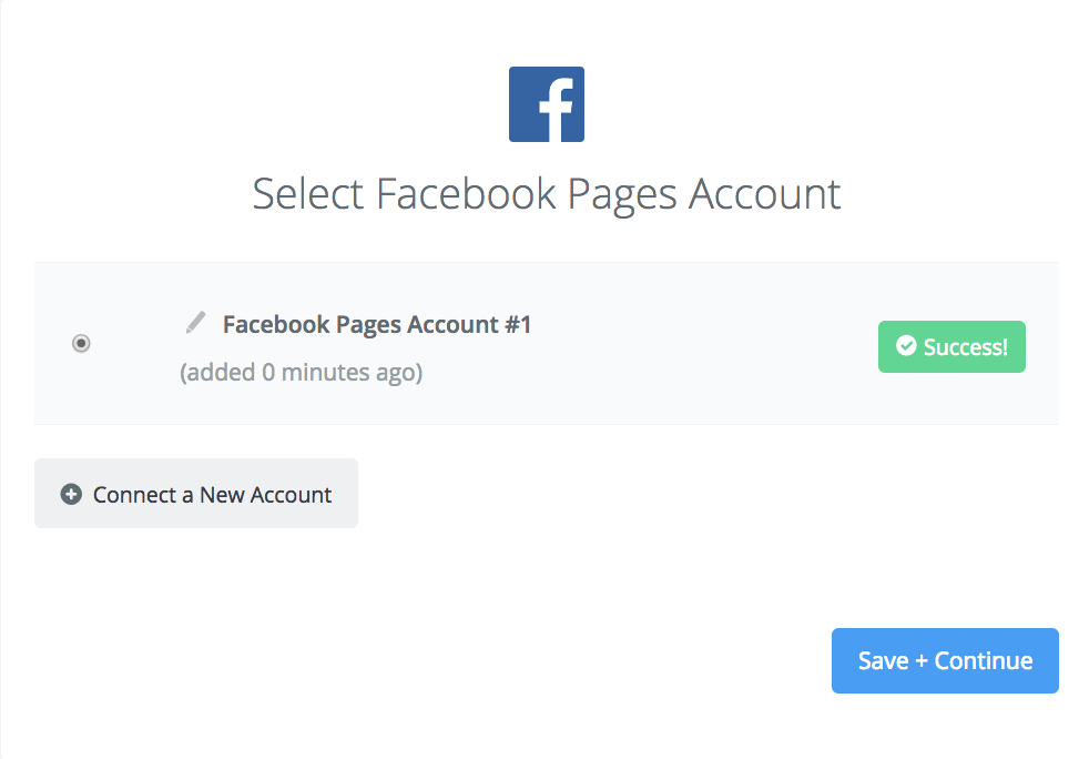 Facebook Pages connection successfull