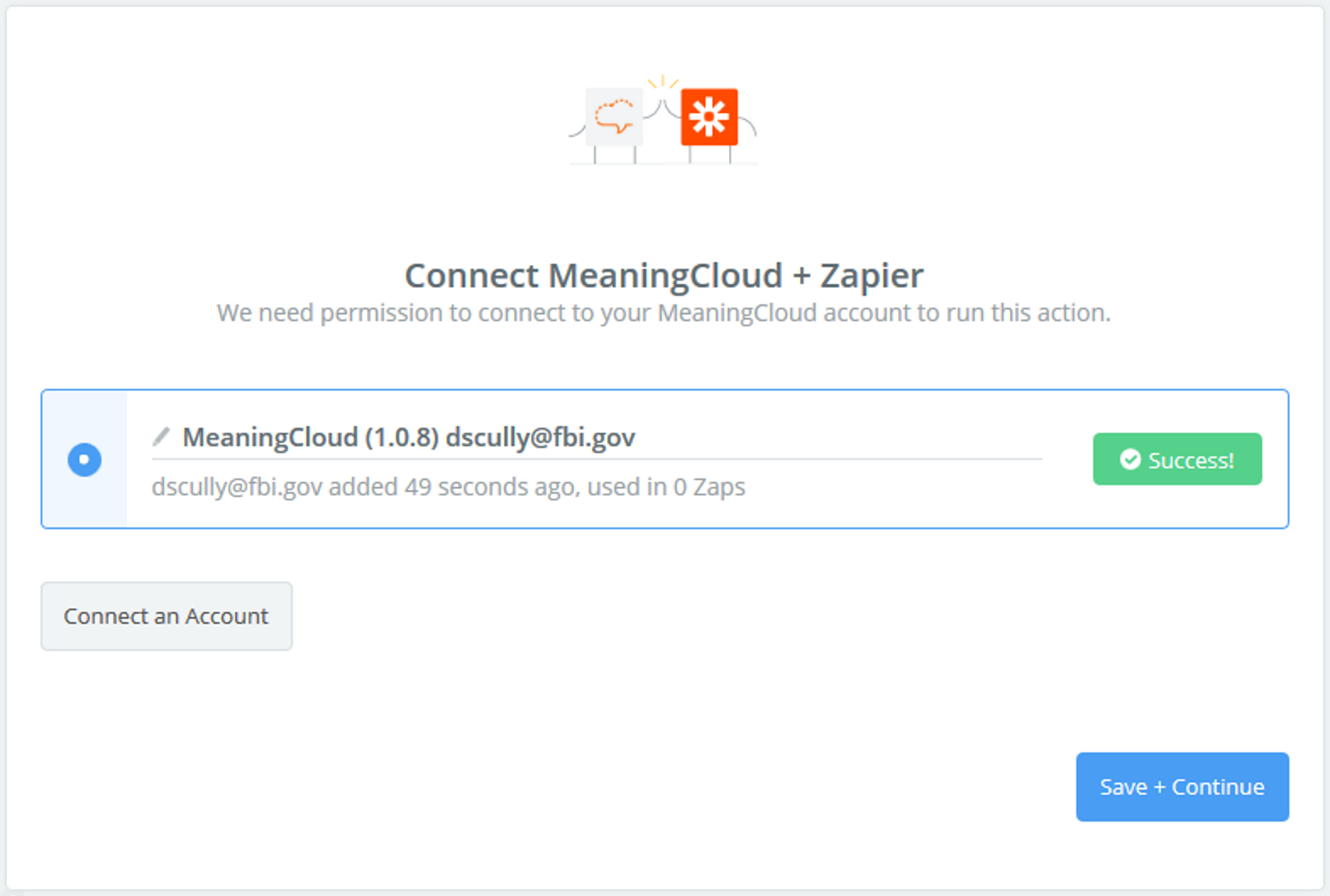MeaningCloud connection successful