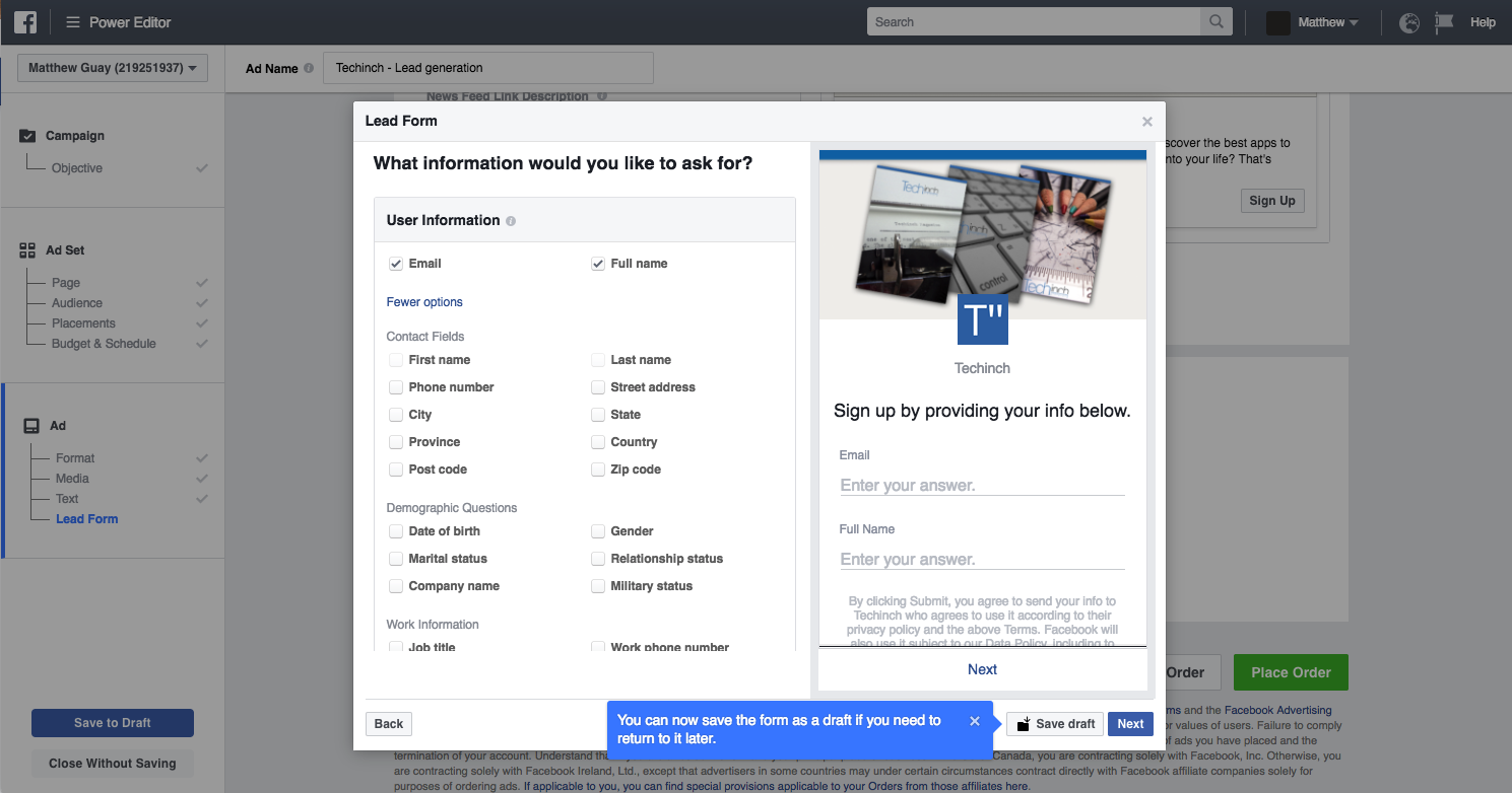 Facebook Lead Ads setup screen