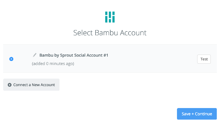 Bambu by Sprout Social connection successfull