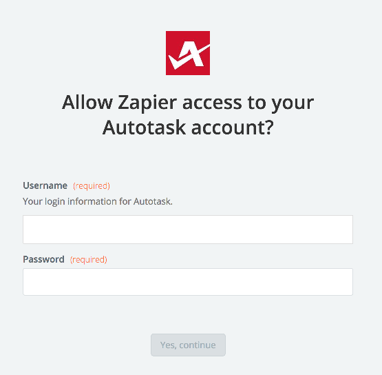 Autotask username and password