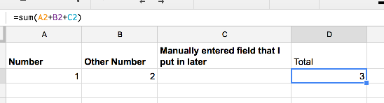 Example of Google Sheets worksheet with manual data entry