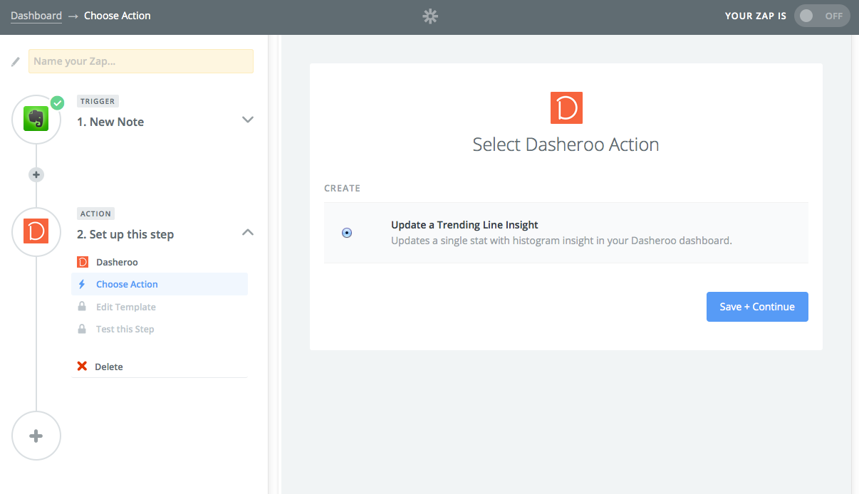 Select Dasheroo as Action App