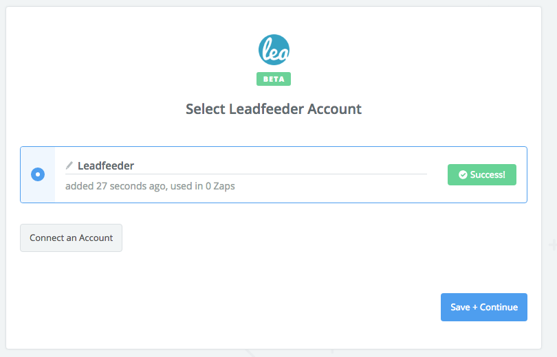 Leadfeeder connection successful