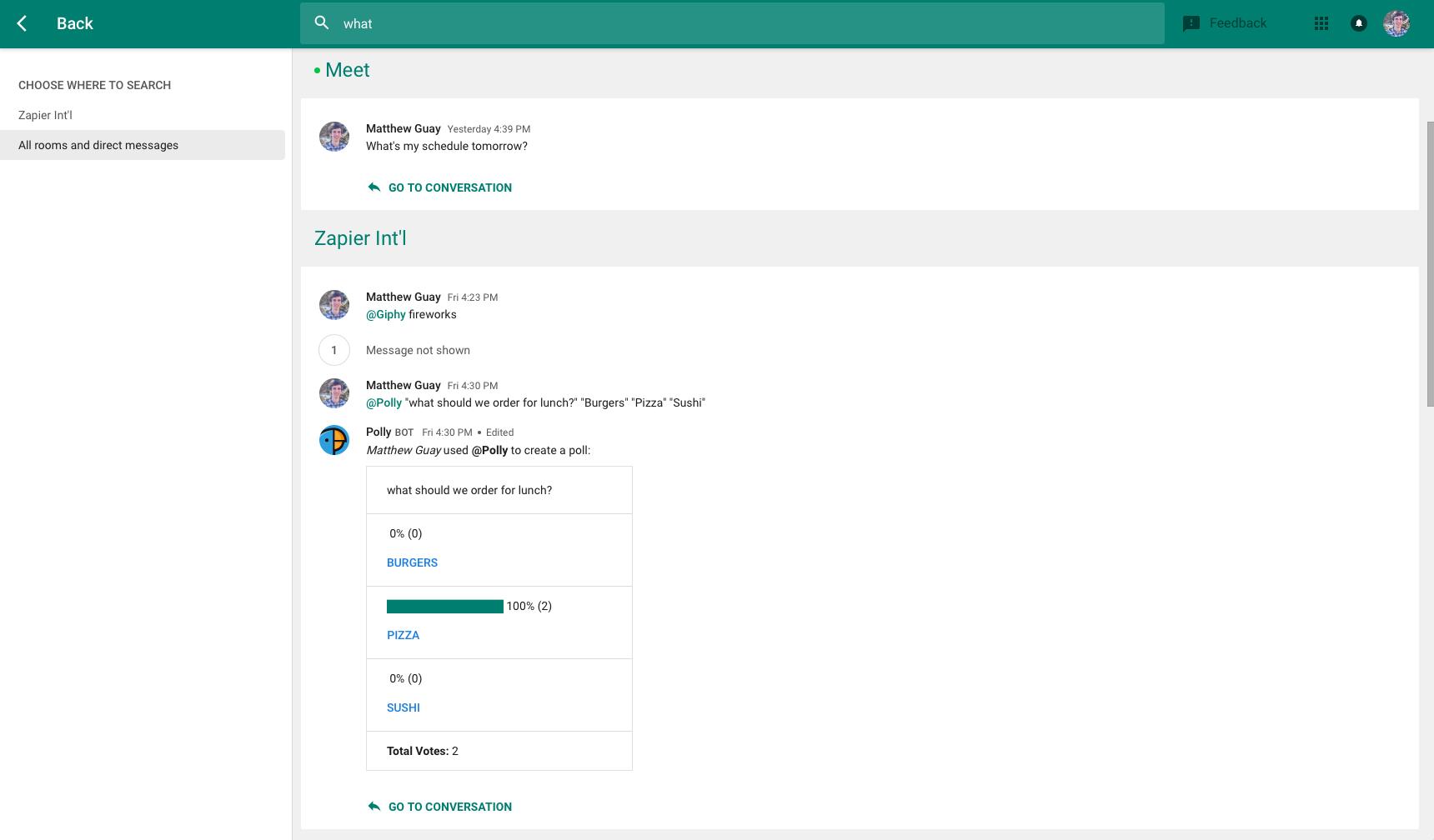 Google Hangouts Chat Search