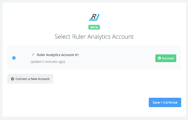 Ruler Analytics connection successfull