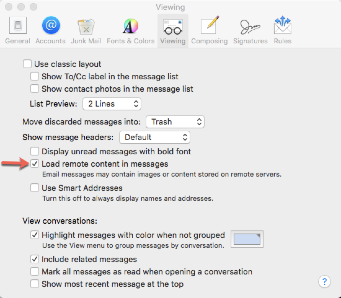 Load remote content in images button in Mail for Mac