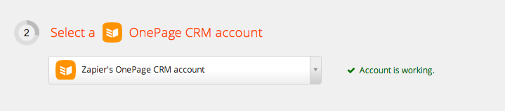 Your OnePage CRM account is authorized
