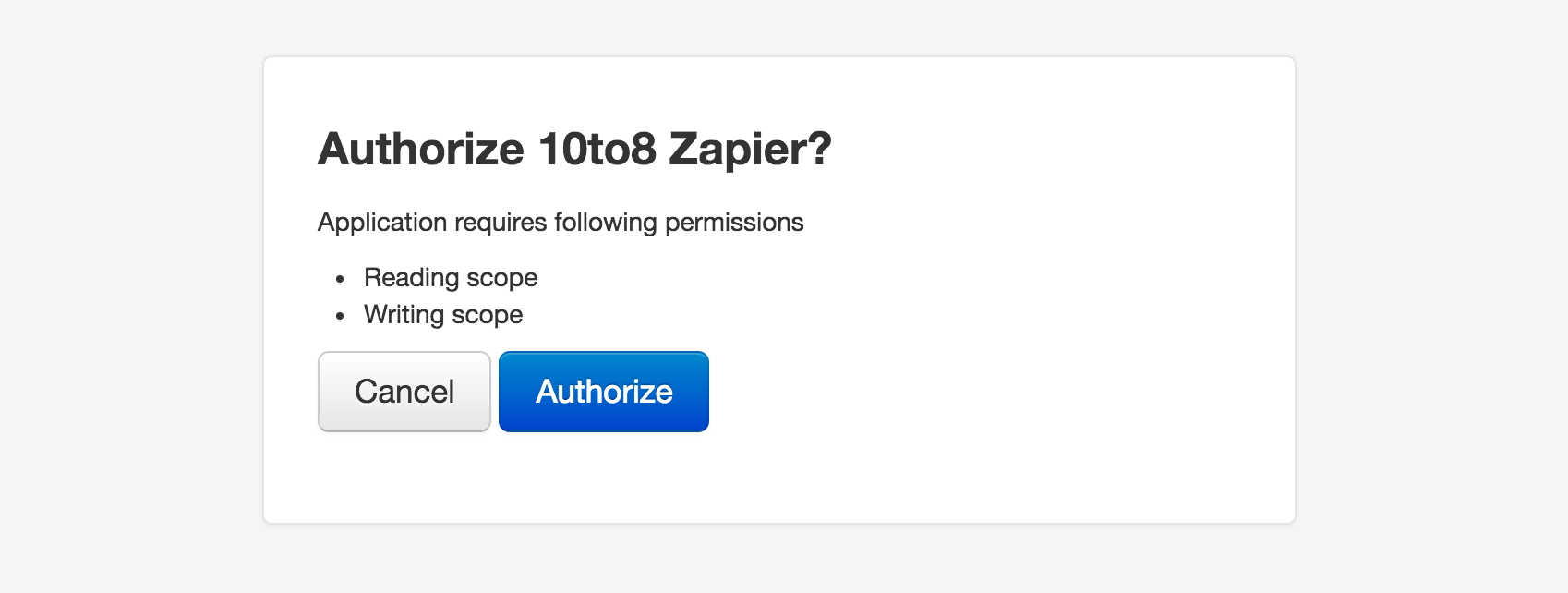 Authorize 10to8 on Zapier