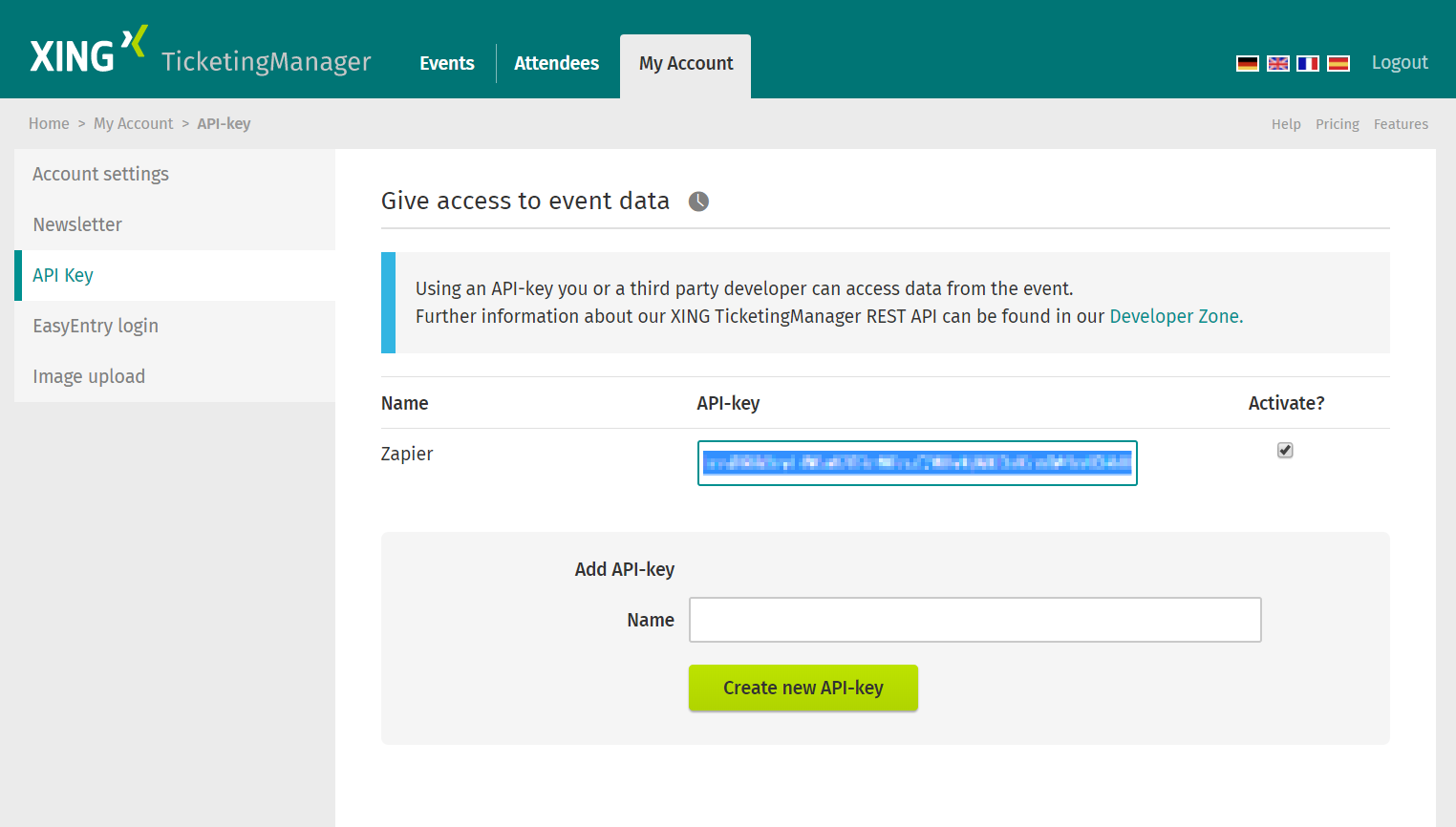 XING Events API Key in account