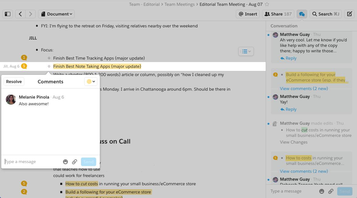 Quip collaborative note taking app
