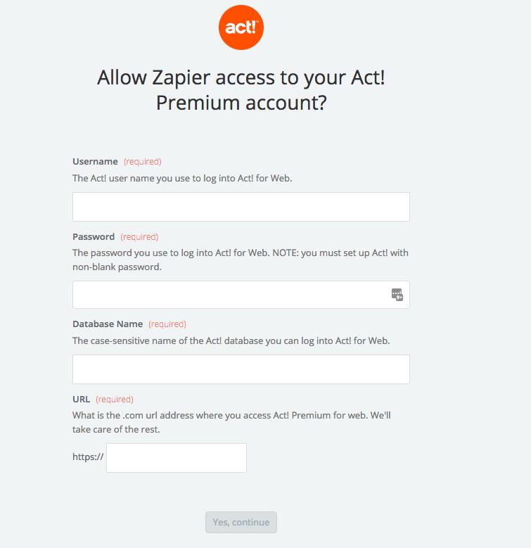 Act! Premium username and password