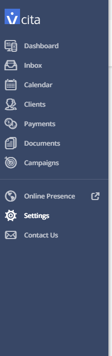 vCita settings link