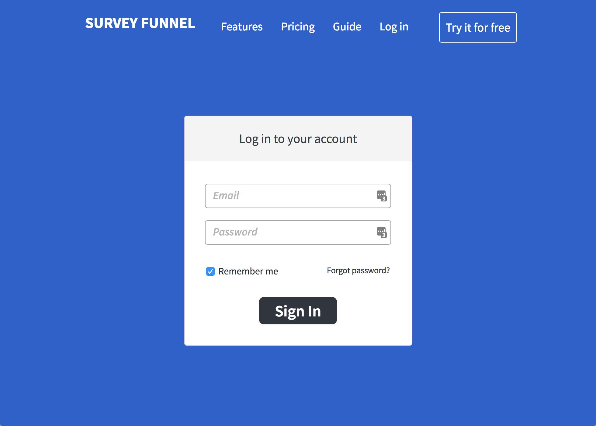 Login to Survey Funnel'