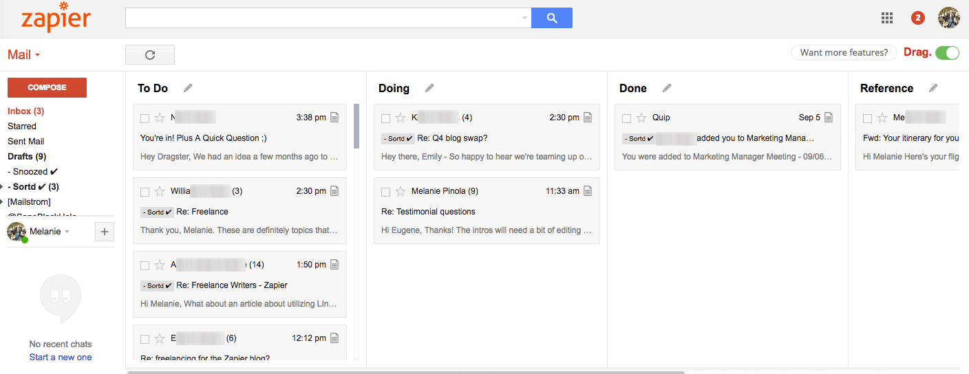 Drag Gmail extension screenshot