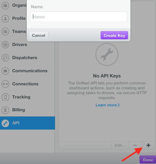 Onfleet API Key in Onfleet account: create API key