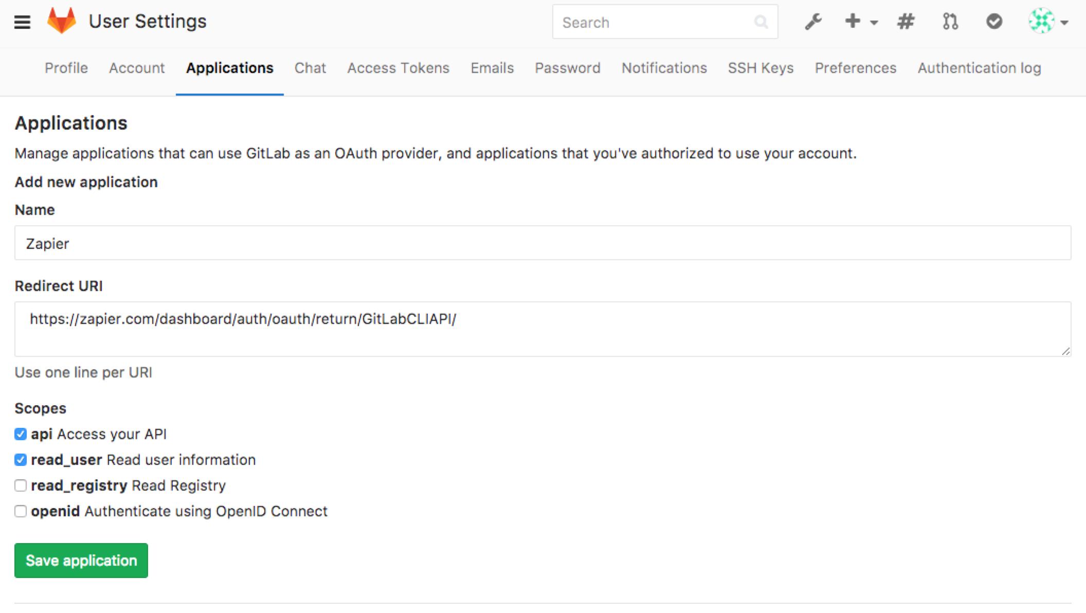 GitLab OAuth App Setup