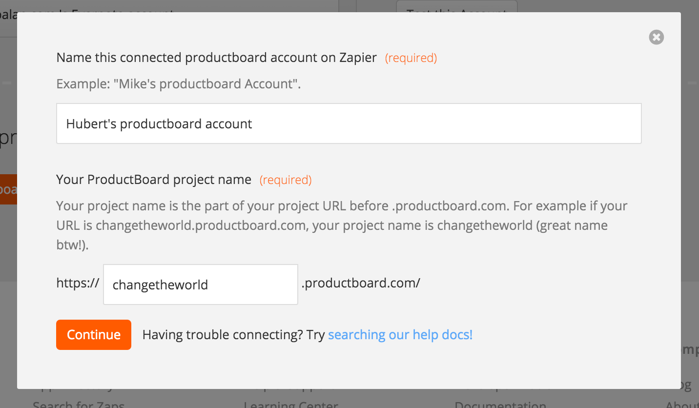 Name the productboard account inside Zapier