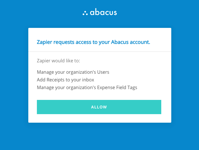 Authorize Abacus on Zapier