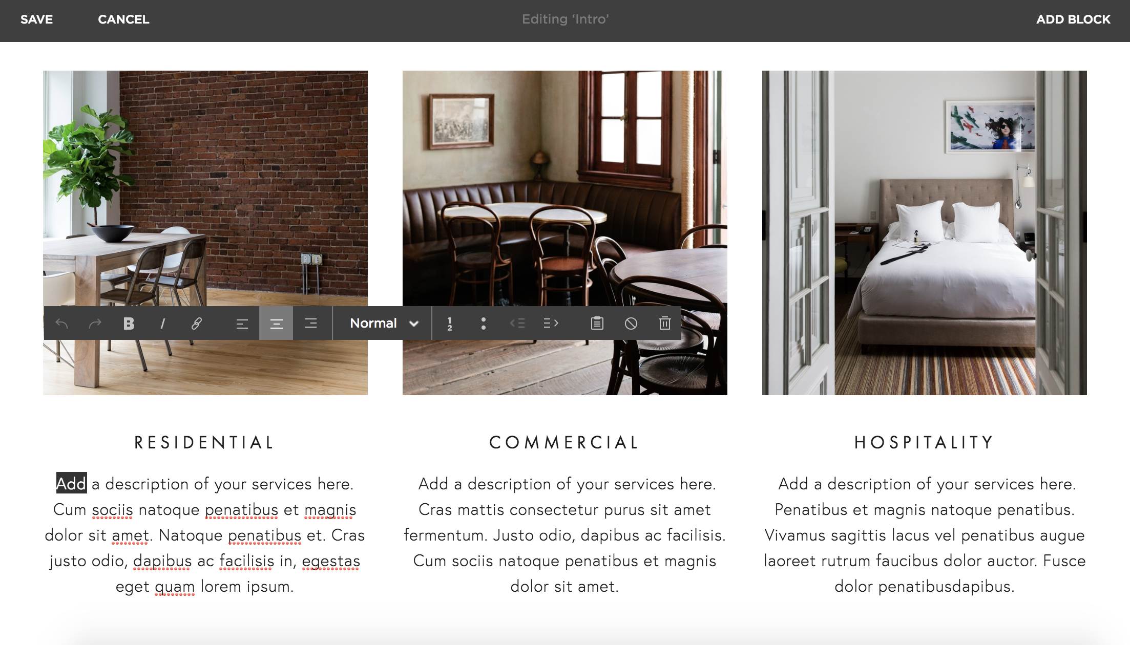 Squarespace page builder screenshot