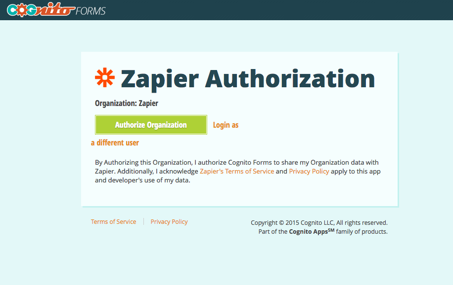 Select your organization and authorize it