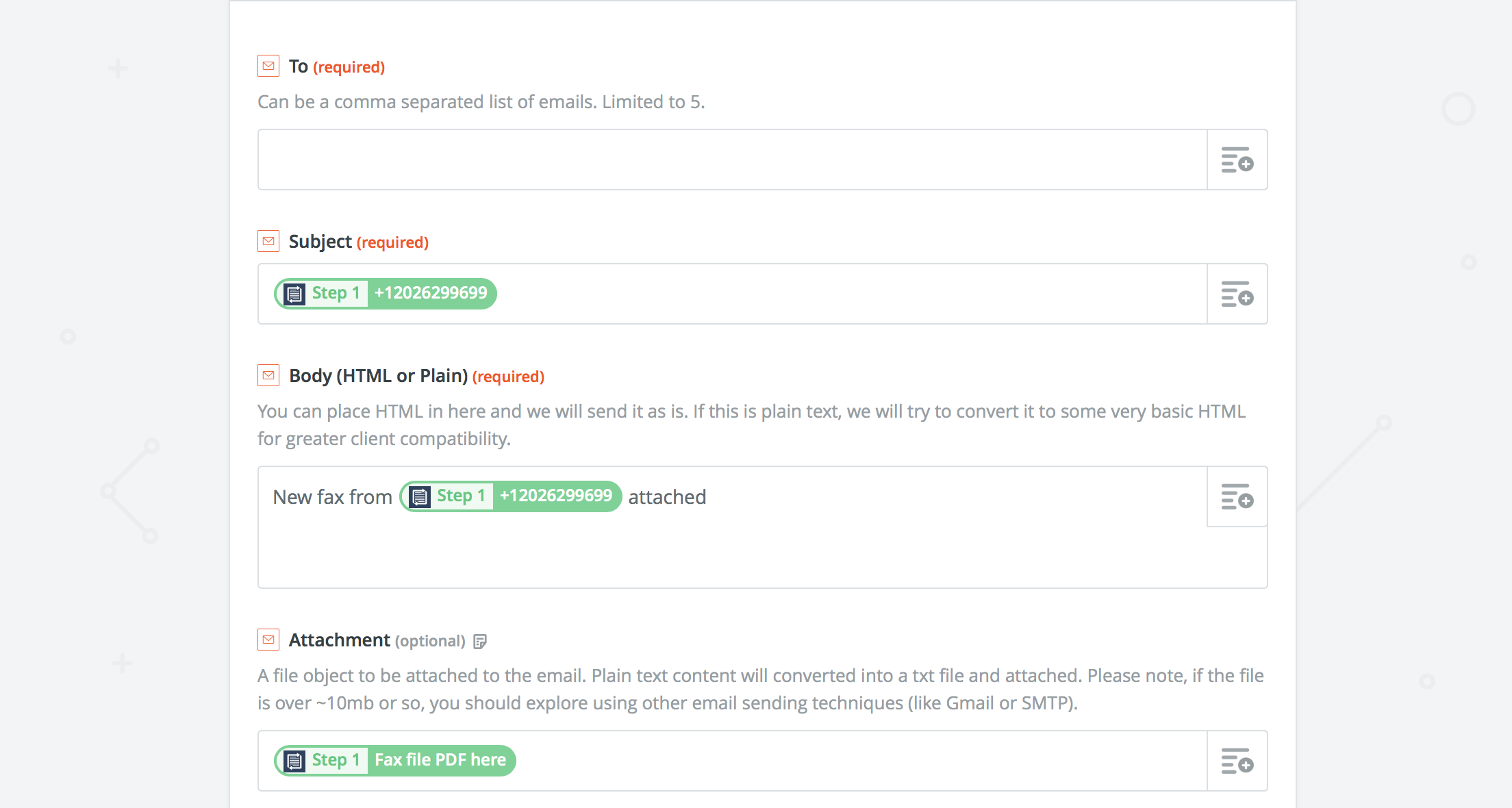 Zapier Fax to Email Details