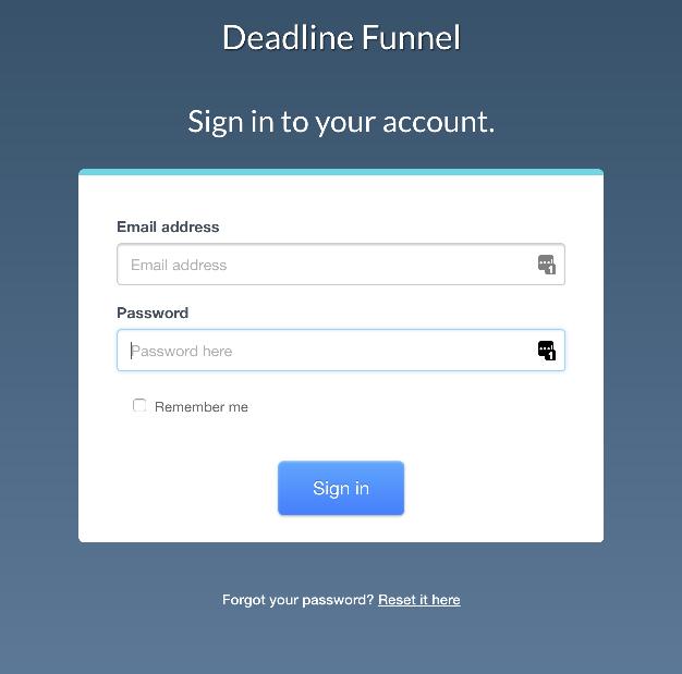 Login to Deadline Funnel